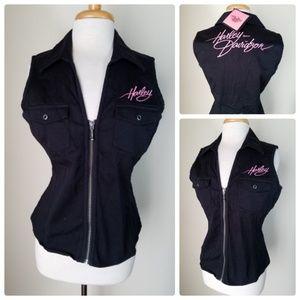 NWT Harley-Davidson Black Zip Up Vest Sleeveless